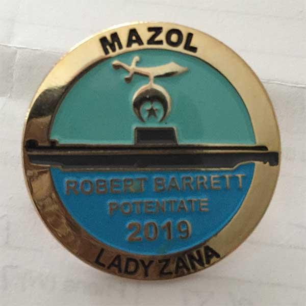 Illustrious Sir Robert Barrett's official Potentate pin.